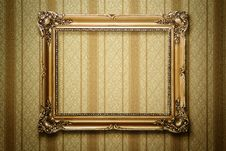 Antique Gold Picture Frame With Clipping Path Stock Photos