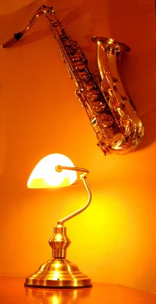 Saxophone On The Wall Royalty Free Stock Photos