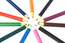 Coloured Pencils In A Circle Royalty Free Stock Images