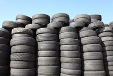 Old Car Tyres Stock Photography