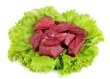 Free Crude Meat With Lettuce Stock Photos - 21127333