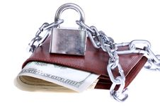 A Wallet With A Chain And Padlock Stock Photo