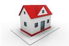 Free House On A Blueprint Stock Photos - 21128193