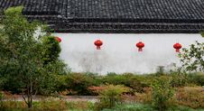Chinese Lantern On The Wall Of Chinese House Stock Photos