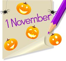 Free Post It November 1 Halloween Party Royalty Free Stock Photos - 21128598