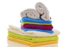Free Colorful Towels On A White Background Royalty Free Stock Photography - 21129987