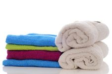Free Colorful Towels On A White Background Royalty Free Stock Image - 21129996