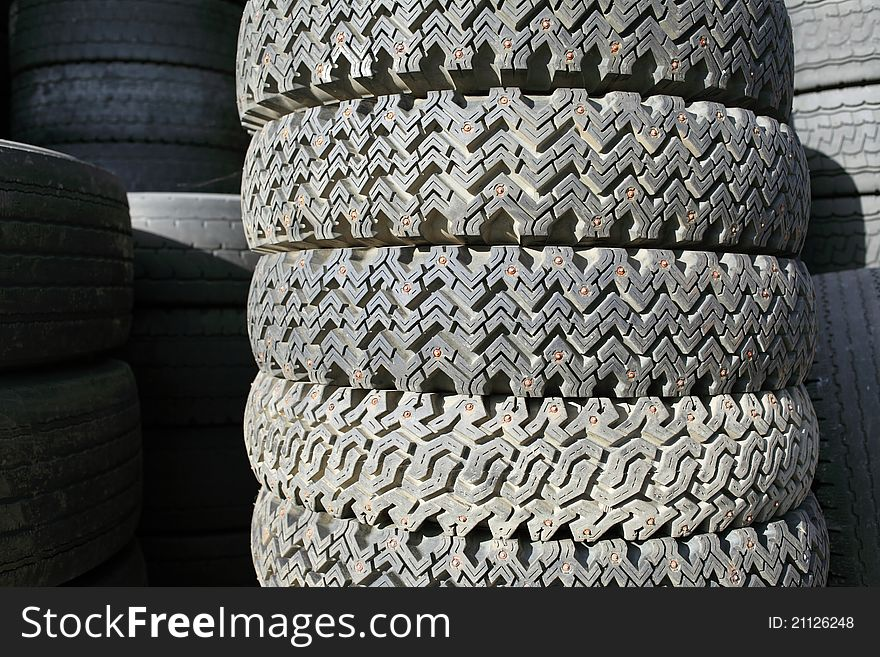 Old spiked tire