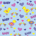 Free Seamless Background With Cartoon Drawings For Baby Stock Photo - 21130640