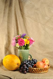 Free The Autumn Flowers And Fruit Stock Photo - 21130210