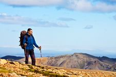 Free Hiker In The Mountains Royalty Free Stock Image - 21130636