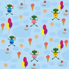Free Seamless Baby Background With Cartoon Drawings Royalty Free Stock Photos - 21130658