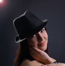 Free Portrait Of Beautiful Young Sexy Woman In Hat Royalty Free Stock Photography - 21130937