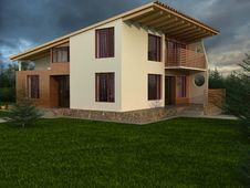 The House With Sloping Roof Stock Photo