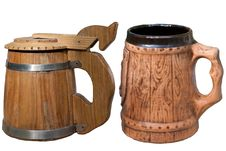Free Wooden And Ceramic Mugs Royalty Free Stock Photo - 21132435