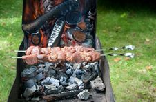Preparation Of Shashlik Outdoor Stock Photography