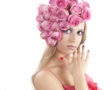 Free Young Beautiful Woman With Pink Flowers Stock Images - 21133934
