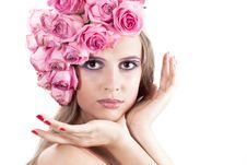 Free Young Beautiful Woman With Pink Flowers Stock Photo - 21133940