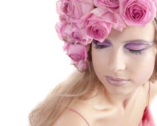Free Young Beautiful Woman With Pink Flowers Stock Photography - 21134052