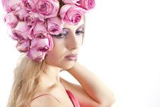 Free Young Beautiful Woman With Pink Flowers Royalty Free Stock Photography - 21134077