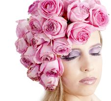 Free Young Beautiful Woman With Pink Flowers Royalty Free Stock Image - 21134216