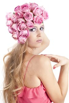 Free Young Beautiful Woman With Pink Flowers Royalty Free Stock Photo - 21134435