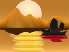 Free Oriental Junk At Sunset Royalty Free Stock Photos - 21134688