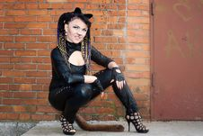 Free Cat Woman Near The Wall Royalty Free Stock Photos - 21134848