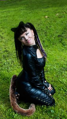 Free Cat Woman On The Grass Stock Image - 21134891