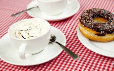 Free Donuts With Coffee On Table. Royalty Free Stock Photos - 21135238