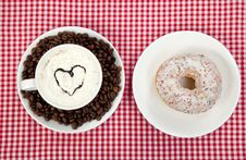 Free Donuts With Coffee On Table. Royalty Free Stock Image - 21135256
