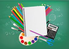 Free Back To School. Notepad With School Supplies. Royalty Free Stock Photos - 21135808