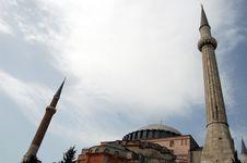 Aya Sofia Minarets Stock Photo