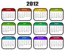 Calendar For 2012 Year Royalty Free Stock Photos