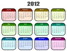 Calendar For 2012 Year Stock Image