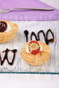 Fruit Tarts With Whipped Cream Stock Photos