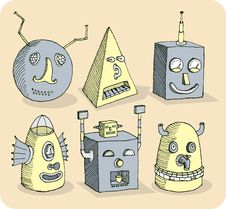 Free Several Old-school Robot Heads Stock Photo - 21138030