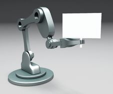 Free Robot Arm Hanging A Text Board Stock Photo - 21138220