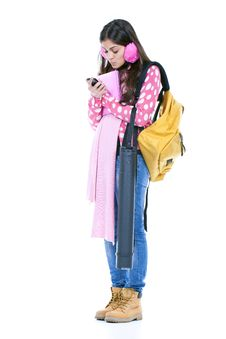 Girl Ready To Go To School Stock Images