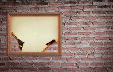 Free Vintage Gold Frame With Burned On Wall Stock Photo - 21139050