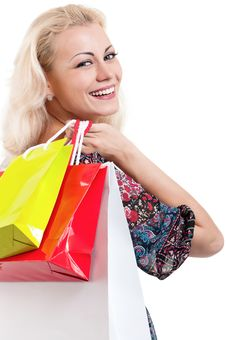 Free Woman With Shopping Bags Royalty Free Stock Photography - 21139157