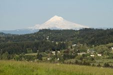 Mount Hood And Happy Valley Scenic View Royalty Free Stock Photo