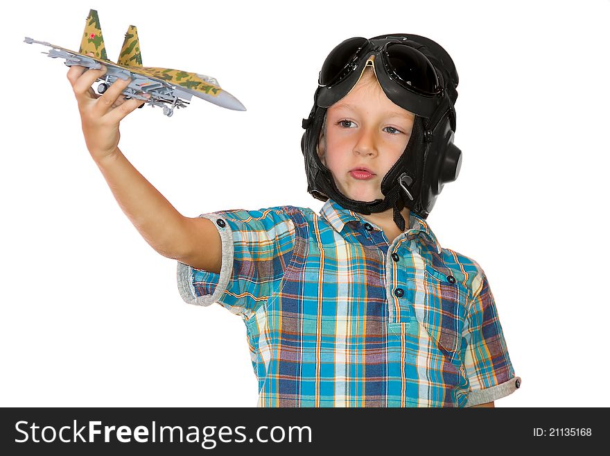Boy play with jet airplane model