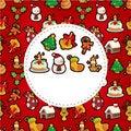 Free Cartoon Xmas Card Royalty Free Stock Photo - 21141005