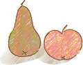 Free Hand Drawn Still Life With Apple And Pear Stock Images - 21144784