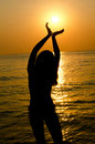 Free Female Silhouette Against A Decline In The Sea Stock Images - 21149864