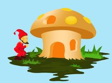 Dwarf And Mushroom Houses Stock Photo