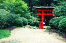 Free Man, Woman Under Gate, Blur, Cross Process Royalty Free Stock Photography - 21140627