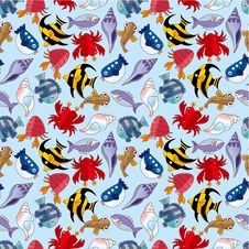 Free Cartoon Fish Seamless Pattern Stock Images - 21140994