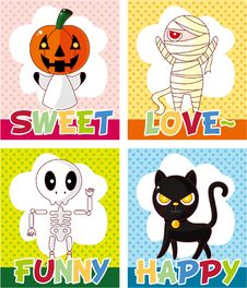 Free Cartoon Halloween Card Royalty Free Stock Photos - 21140998